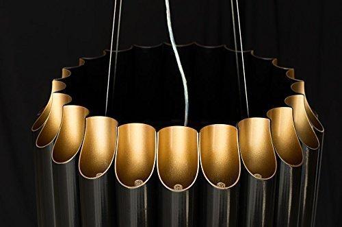 Großer schwarzer Bauhaus Kronleuchter Schwarz Matt Gold mit 22 Decken- und 22 Downlights G9 für LED Technik. 60-160 cm Gesamtlänge.