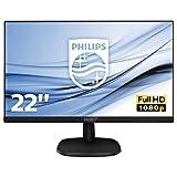 """Philips 223V7QHAB Monitor 22 """"LED IPS Full HD, 1920 x 1080, 5 ms, 3 lati senza cornice, Casse Audio integrato, Cornici Sottili, Flicker Free, HDMI, VGA, Attacco VESA, Nero"""