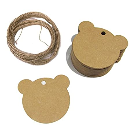 eKunSTreet ® 50pcs 60mmX60mm Rustic Style Bear Shape Brown Kraft