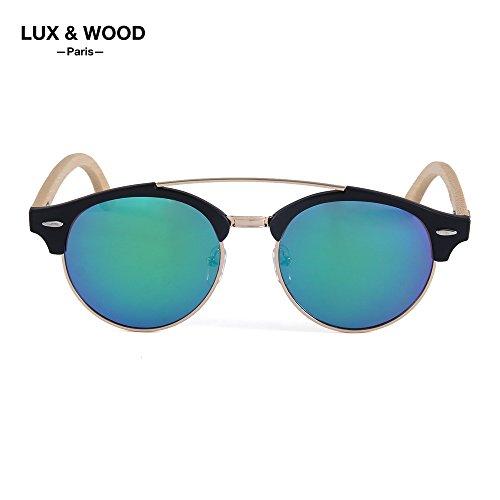 ⭐️LUX & WOOD Paris⭐️ Sonnenbrillen - Vintage Design - Polarisiert - Kollektion 2018 - Herren - Damen - Polycarbonat Gläser UV 400 - Kunststoff, Bambus, Metall Kombi-Halterung - Bambus Hartschalenkoffer im Lieferumfang.