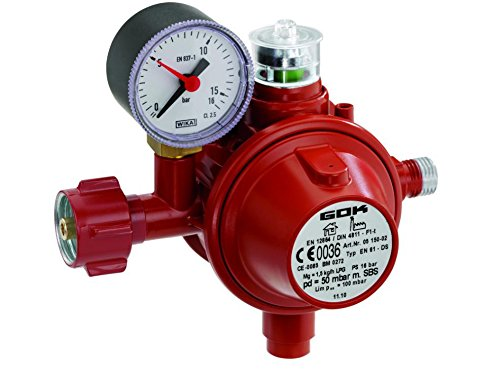 GOK Haushaltsregler / Gasregler für den Einsatz in geschlossenen Räumen, Betriebsdruck:50 mbar mit SBS -
