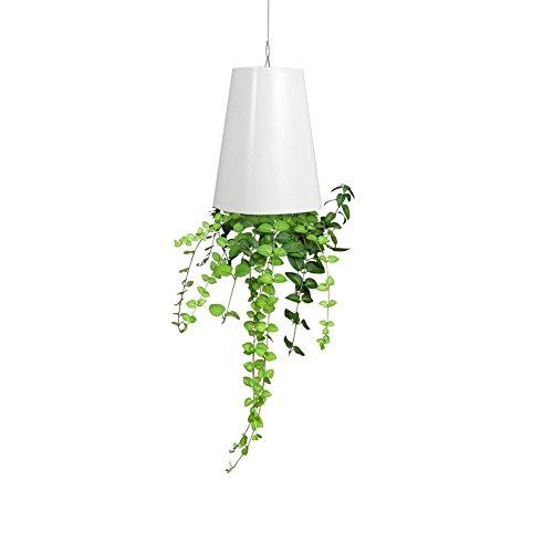 Pot de Fleurs à Suspendre Jardinière Plantes Suspendu à l'envers en Plastique Décoration Maison Balcon Jardin avec accessoires 13*9.3*6.2cm (Blanc)
