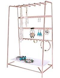 Simmer Stone Rose Gold Jewelry Stand, Desktop Jewelry Organizer with Tray, Size 10.2x5.5x15.7