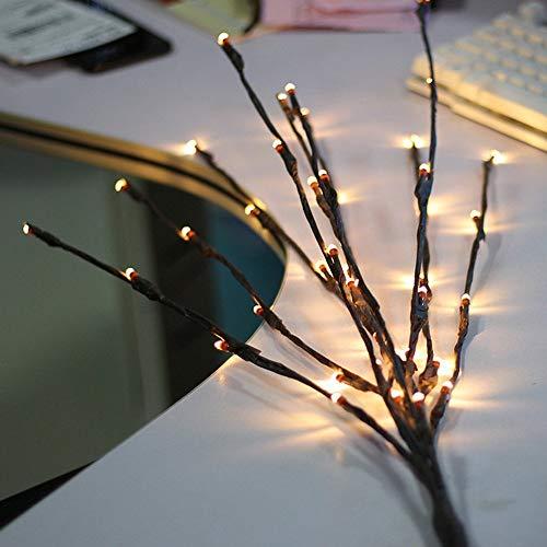 BLOOMWIN 20LED 77CM Hoch Warmweißes Lichtzweig 1.2W, Verformbare Lichterbaum LED Baum Lichterzweig Dekobeleuchtung für Innen Fenster, Schaufenster, Vase, Tisch, Kommode, Wohnzimmer