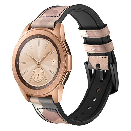 HappyTop Armband aus Leder und Silikon für Samsung Galaxy Watch 42 mm / 46 mm Camouflage Armband Samsung Watch Band, Unisex, (42mm) Camouflage Yellow