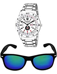 Timer Combo Of Stylish Silver Color Dial Watch With Fashionable Sunglass For Men And Boys