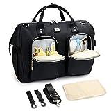 Pomelo Best Wickeltasche mit wasserdicher Wickelunterlage und 2 Kinderwagen Haken verstellbare Schultergurt multifunktionale Umhängetasche Reisetasche für Unterwegs (Schwarz)