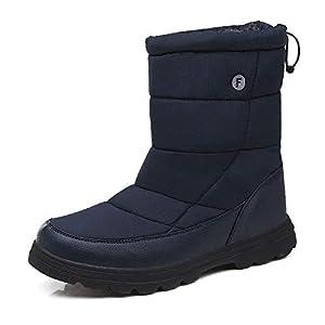 Schneeschuhe for Herren Kaltes Wetter Schuhe Warm Kunstpelzfutter Persenning Backpacking Wandern Anti-Rutsch-Mode Classic Black Leichte (Farbe : Blau, Größe : 39 EU)