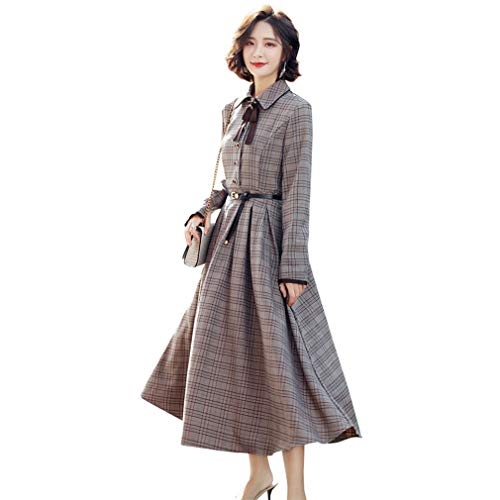 YAN Ladies Plaid Dress Spring Fashion Line Slim Fashion Long Sleeve Big Swing Dress Party Evening Office Career Work,1,XL (Womens Robe Plaid)