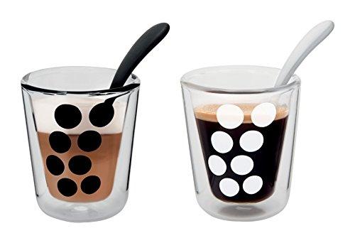 Zak Designs 1500-R695 Set de 2 Verres à café Dot Double paroi 20cl & 2 cuillères-Noir & Blanc