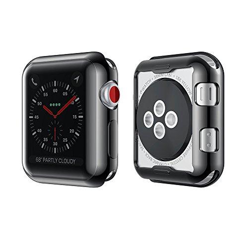 KONKY Apple Watch TPU Hülle 42mm Series 3/2, Slim Apple Watch 2/3 Silikon Case All-around Schutz Kratzfest Stoßfest Schutzhülle Gehäuse Abdeckung mit Schutzfolie Feature für iWatch 2/3 42mm (Produktgarantie), Schwarz