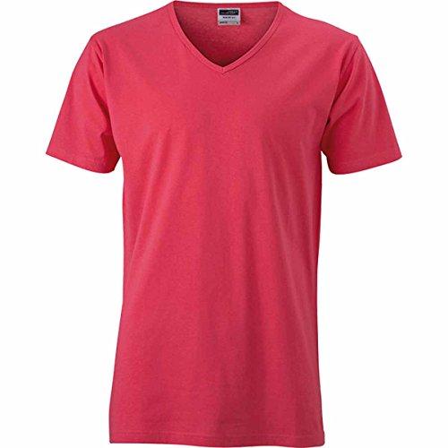 JAMES & NICHOLSON Herren T-Shirt, Einfarbig Framboise