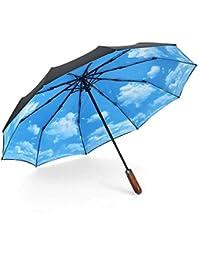 ASEOK Double Canopy-Men & Ladies, Paraguas de Viaje automático, Plegable y Compacto