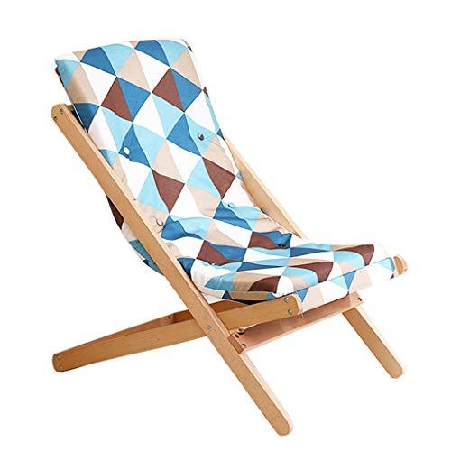 Fzw Chaise portative en bois de chaise pliante (Couleur : Bleu, taille : 65 * 89 * 78cm)