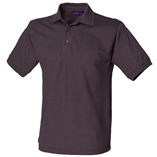 Henbury Herren komfortable Fit Stand-Up Collar Short Sleeved-Poloshirt 65/35 (DE) Grau - Dunkelgrau