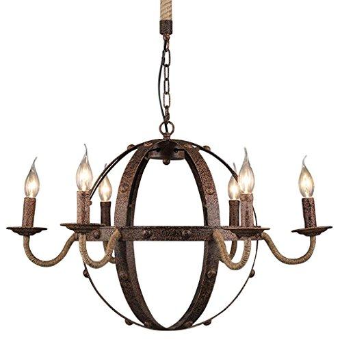 DEED Lampe-Belichtete kreativer Persönlichkeits-Hanf-Seil-Leuchter-Dachboden-Bar-Retro- industrieller Art-Restaurant-Internet-Kaffee-kreative Kerze runder Kugel-Leuchter-hängende dekorative Beleuchtu
