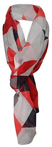 TigerTie Schal in rot weinrot schwarz grau anthrazit gemustert - 100% Modal - 180 x 70 cm Eleganter Schal