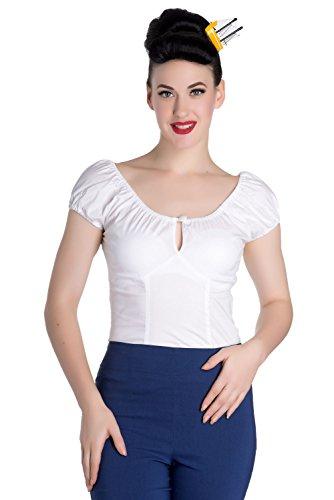 Hell Bunny Melissa Polka Rockabilly 50er Bluse Top - Weiß (4XL - 48-50) - Sexy Bunny Weiß