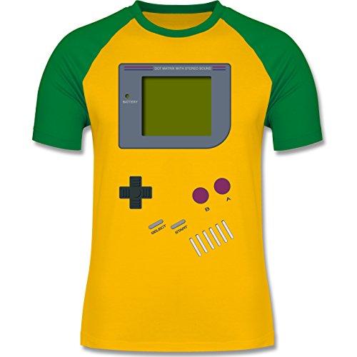 boy - M - Gelb/Grün - L140 - Herren Baseball Shirt (Baseball Kostüm Männer)