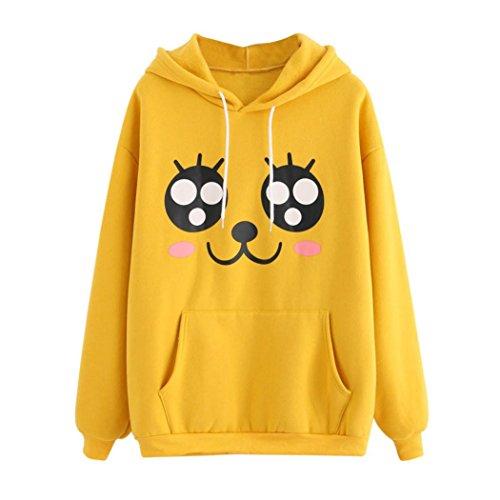 Langarm Hoodie Sweatshirt Damen, DoraMe Frauen Süsses Emoji Print Kapuzenpullover Sport Kapuzen Bluse Mode Lässig Hemd (S, Gelb) (Print Spandex Shorts)