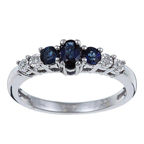 10k Weißgold 3 Drei Steiniger Echt Blauer Saphir und Diamant Ring