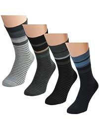 12 24 oder 36 Paar Herren Freizeit Business Socke, Streifenmotiv Aufdruck 'Action' Lavazio