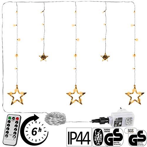 VOLTRONIC® 5 Sterne (61 LED) / 12 Sterne (150 LED) Lichtervorhang Lichterkette, GS geprüft, innen + außen (IP44), Timer, 8 Programme, Fernbedienung, warmweiss/kaltweiss/bunt/warmweiß+kaltweiß