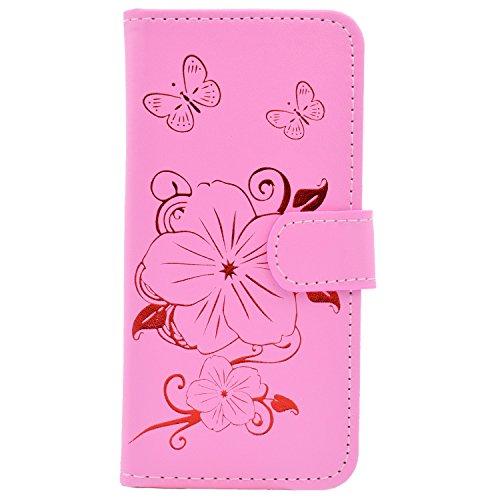 """Etsue Brieftasche Ledertasche für iPhone 6 Plus/6S Plus 5.5"""" Leder Flip Case Hülle [Schmetterling Blume Muster], Retro Elegant Bookstyle Butterfly Leder Cover Flower Wallet Tasche Schutzhülle Handyhül Schmetterling Blume,Pink"""