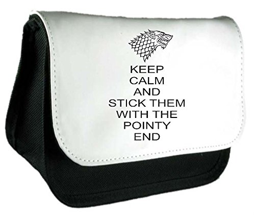 Preisvergleich Produktbild Keep Calm and Stick Sie mit dem Spitzen Ende Parodie Fandom Federmäppchen oder Kupplung Handtasche Make Up Tasche Einheitsgröße schwarz