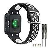 T-BLUER Watch Band Compatible for Garmin Forerunner 35 Bracelet,Accessoire de Courroie de Bracelet en Silicone Respirant Compatible pour Garmin Forerunner 35,Noir Blanc