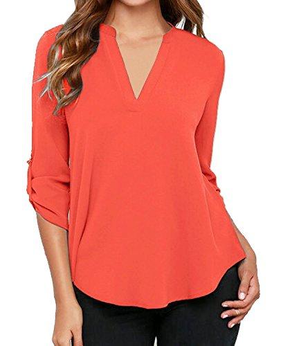 Minetom Damen Bluse Oberteile V Ausschnitt Chiffon Locker Langarm T-Shirt Casual Hemd Orange