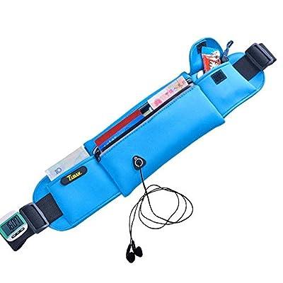 Tuban Laufen und Sport Gürtel Waistpack Gürteltasche–– Komfortable und kompakt mit verstellbarem Gurt und Reflektoren für Handys und Schlüssel (blau)