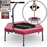 Kinetic Sports Fitness Trampolin Indoor Ø 110 cm, Hexagon, höhenverstellbarer Haltegriff, Gummiseilfederung, Randabdeckung PINK , belastbar bis 120 kg