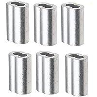 """kaptin aluminio prensa cierre de funda para 1/8""""diámetro cuerda de alambre y cable, 100piezas"""