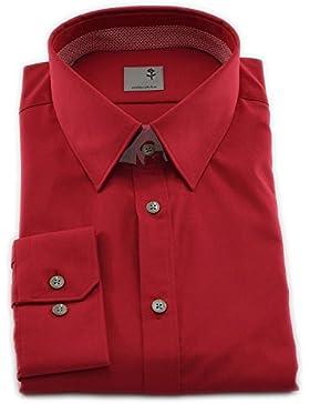 Seidensticker Herren Langarm Hemd Schwarze Rose Slim Fit Modern Kent Patch2 rot 243096.48