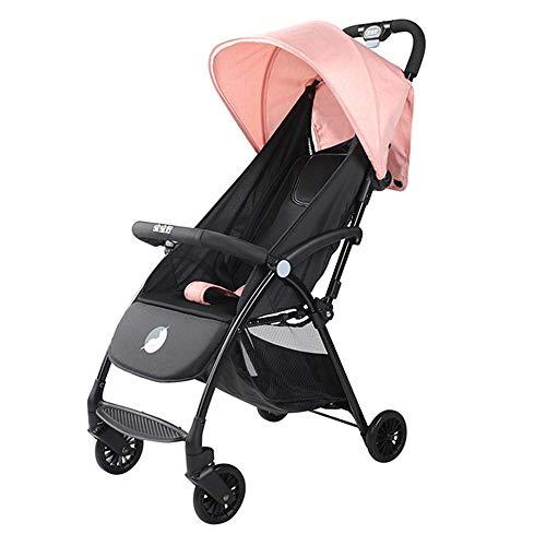 Unbekannt Kinderwagen Kinderwagen Leichtgewicht, Travel One Step Design zum Öffnen und Zusammenklappen, höhenverstellbarer Schiebegriff, von der Geburt bis 25 kg,Pink - Trittbrett Lager
