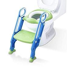 ADOVEL Riduttore WC per Bambini Ergonomico Con Schienale Alto, Baby training WC vasino sedile con scaletta, antiscivolo, resistente, design pieghevole e regolabile in altezza