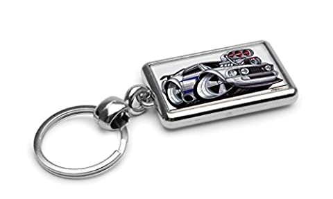 WickedArtz Cartoon Car Ford Mustang Supercharger White Premium Metal Key Ring