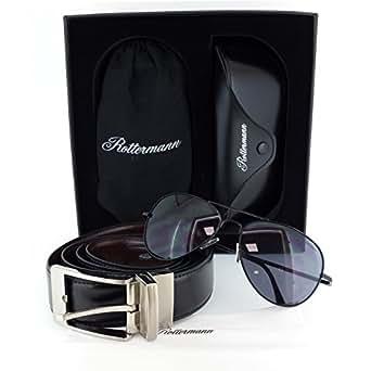 Cintura di cuoio con fibbia reversibile + Occhiali da sole modelo aviator UV400 CE