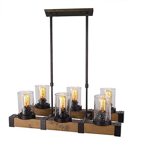 HYLH Metall Holz und Glas Kronleuchter Pendelleuchte Retro rustikal Loft Antik Lampe Edison Vintage Rohr Wandlampe dekorative Leuchten und Deckenleuchte Leuchte (DREI Lichter) (Six Lights) - Antik-weiß, Rustikales Holz