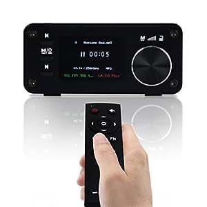 Gemtune SMSL SA-50 PLUS TAS5766M Amplificateur, DAC et Lecteur de Musique 3 en 1 2x50W avec Télécommande, Ecran OLED, Lecteur USB / SD, prise jack 3,5 mm, AUX et optique, ADC intégrée, full digital