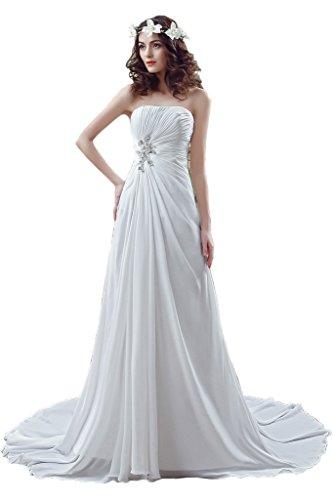 Ivydressing Damen Einfach Schleppe Traegerlos Brautkleid Abendkleid Hochzeitskleid Weiß
