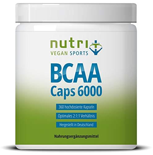 BCAA Kapseln 2:1:1-360 Caps à 750 mg - hochdosiert & vegan - essentielle Aminosäuren - Nutri-Plus BCAAs ohne Magnesiumstearat - Hergestellt in Deutschland - vegane Aminos