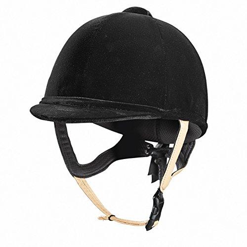 Caldene Tuta pas015.2011Samt Reiten Hat Helm Lederband schwarz schwarz 55