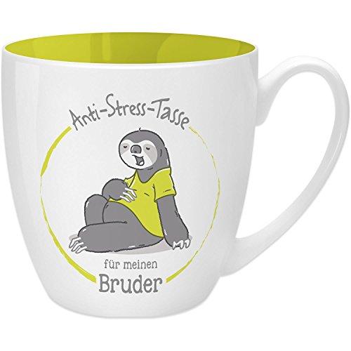 Gruss und Co 45508 Anti-Stress Tasse für Den Bruder, 45 cl, Geschenk, New Bone China, Gelb, 9.5 cm