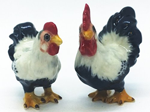 WitnyStore Miniatur Huhn Keramik Handwerk Figur Hahn Bemalt Decor Henne Paar -