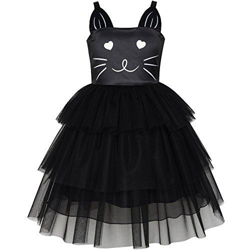Sunboree Mädchen Kleid Katze Gesicht Schwarz Turm Rüsche Tanzen Gr. 116