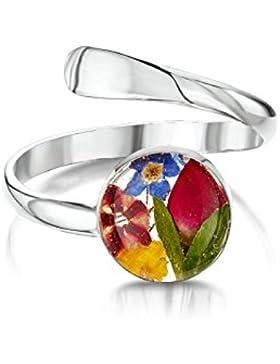 Shrieking Violet: verstellbarer Ring - Gemischte Blüten - rund - 925 Sterling Silber - variable Größe