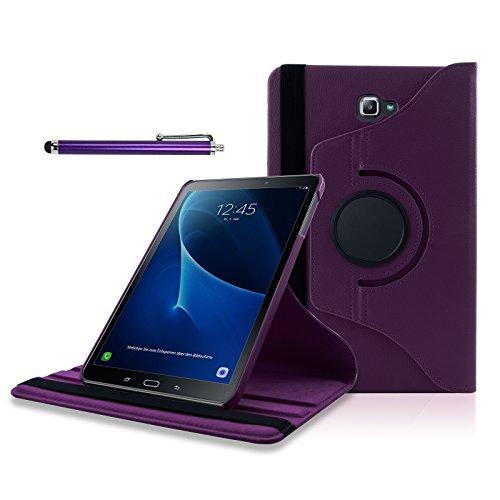 SAVFY Samsung Galaxy Tab A 10.1 Hülle (2016) T580N/ T585N 360 Grad Drehung Case Schutzhülle Tasche mit Ständerfunktion inkl. Eingabestift und Schutzfolie, lila (Lila Tablet Tasche)