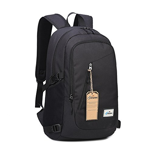 Fresion USB Laptop Backpack Water Resistant Anti-theft Rucksack Casual Daypack School Backpack fits 15.6 inch Laptop/ Notebook for Men Women (Black)